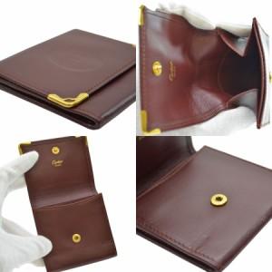 【中古】カルティエ コインケース ◆ マストライン レディース メンズ ◆定番人気 ボルドーxゴールドカラー k8016