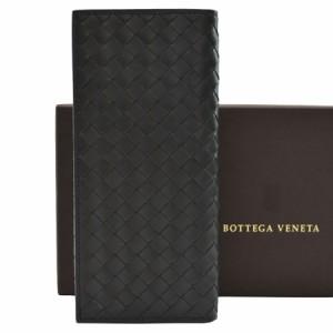 【定番人気】【中古】ボッテガヴェネタ 長札入れ  イントレチャート メンズ ブラック r5588
