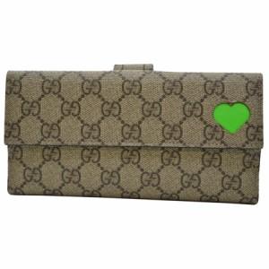 【定番人気】【中古】グッチ Wホック二つ折り長財布  GG柄 レディース ブラウン系xグリーン r5779