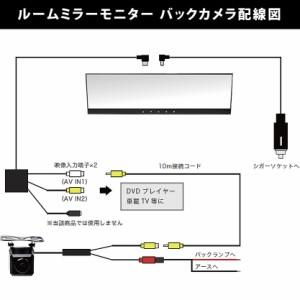 送料無料 CB1-4 アコード等に 4.3インチ ルームミラーモニター&バックカメラ らくらく取り回し 映像端子10m配線付