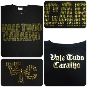 Vale Tudo CARALHO/Vale Tudo Caralho ロゴラインストーン入り長袖Tシャツ