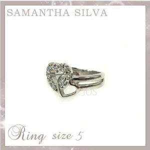 サマンサタバサ アクセサリー Samantha Silva サマンサシルバ SV CZ ツインハート リング 5号 指輪 リング