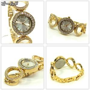 時計 腕時計 レディース Triple Rhinestone Ring Bracelet Watch トリプルラインストーンリングブレスレットウォッチ 全3色 送料無料