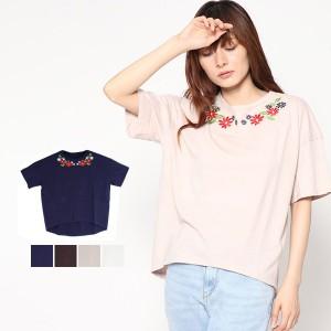 カットソー Tシャツ 半袖 刺繍 花柄 オーガニックコットン 綿 ラウンドネック 丸首 トップス レディース SALE セール