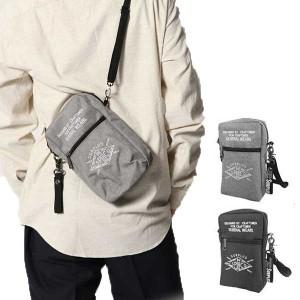 サコッシュ タテ型 ポーチ ミニショルダーバッグ 刺繍 アメカジ ポリオックス バッグ 鞄 小物 メンズ グレー ブラック SALE セール