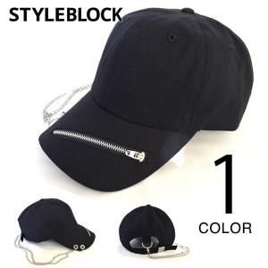 キャップ フルフェイスキャップ ベースボールキャップ チェーン ジップ パンク 帽子 小物 メンズ ブラック SALE セール