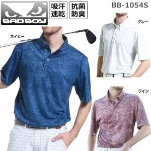 バッドボーイ BADBOY メンズ ゴルフウェア ジャガードプリント ボタンダウン 半袖ポロシャツ BB-1054S