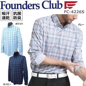 ファウンダースクラブ Founders Club メンズ ゴルフウエア チェック柄 ボタンダウン 長袖ポロシャツ FC-4226S