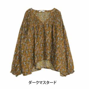 L〜4L/ジョーゼットヴィンテージ 花柄プリント バルーンスリーブ ブラウス■シャツ トップス [10854807/854807]