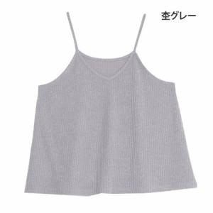 M〜6L/リブニットソー Aライン フレア オーバーキャミソール■オリジナル トップス [10430971/430971]