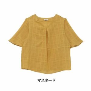 M〜4L/コットン100% 半袖 フレアスリーブ Vネック ブラウス■シャツ トップス [10856286/856286] 大きいサイズ