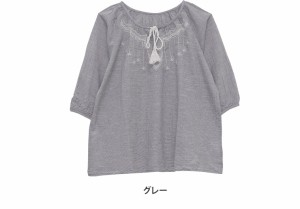 M〜4L/刺繍入り 七分袖 スモック ブラウス■シャツ トップス M L LL 3L 4L 11号 13号 15号 17号 [10856394/856394] 大きいサイズ