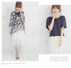 M〜4L/半袖 Tシャツ×レース ドッキングワンピース■オリジナル ワンピース ワンピ [10438049/438049] 大きいサイズ