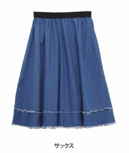 M〜6L/大人の楽ちん 裾フリンジ ウエストゴム デニム ロング丈スカート■オリジナル ボトムス [10448012/448012] 大きいサイズ
