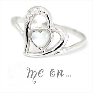 me on...(ミィオン)誰かに甘えたいときのパワーストーン。恋するハート★18金(18K)ダイヤモンド&白蝶貝リング 送料無料