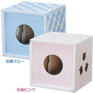 つめとぎBOX TTB-4 花柄ピンク・花柄ブルー[猫用品・ネコ用品・ツメとぎ・爪とぎ・遊具・おもちゃ]