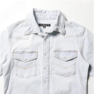 カットオフ長袖ダメージデニムシャツ