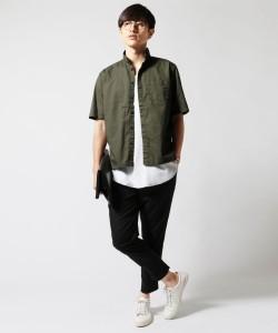 日本製 コットン ギャバジン スモールカラー シャツ Upscape Audience アップスケープオーディエンス メンズ シャツ