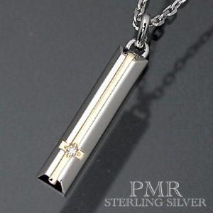 PMR ピーエムアール シルバー ネックレス レディース メンズ ダイアモンドクロス ゴールド・ PMP365DIA-L-GD