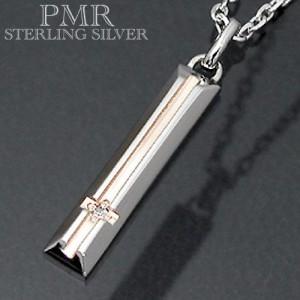 ネックレス レディース メンズ PMR ピーエムアール シルバー ダイアモンドクロス ピンク PMP365DIA-PK