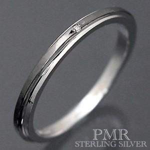 PMR ピーエムアール シルバー リング 指輪 メンズ レディース ダイアモンド ブラック PMR369DIA-BK