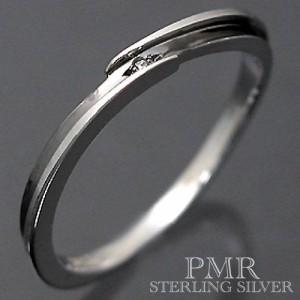 PMR ピーエムアール シルバー リング 指輪 メンズ レディース ダイアモンド ブラック PMR371DIA-BK