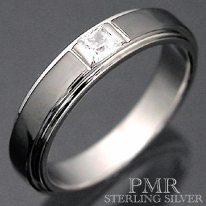 PMR ピーエムアール シルバー リング 指輪 メンズ レディース キュービックジルコニア ブラック PMR373CZ-BK