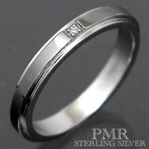 PMR ピーエムアール シルバー リング 指輪 メンズ レディース 2カラーダイアモンド ブラック RM-PMR365DIA-BK