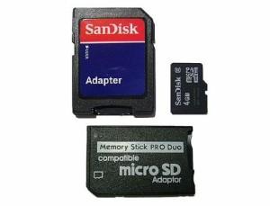 メール便可能■SanDisk microSDHC 4GB + メモリースティック PRO Duo+SD 3点セット PSP/SDHC対応