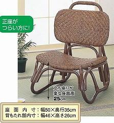籐[ラタン] 楽々座椅子 アジロ編み【S52B】