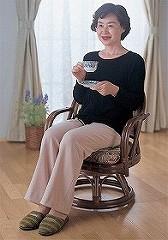 籐[ラタン] 回転座椅子 ハイタイプ 2個組【TK35】