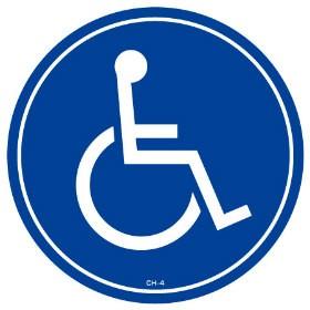 コーンヘッド標識用ステッカー 「車いす」 国際シンボルマーク 駐車場 直径28.5cm ( PARKING )