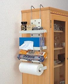 冷蔵庫サイド キッチンホルダー( キッチン 収納 冷蔵庫収納 ラック ラップ ペーパータオル ロールペーパー )