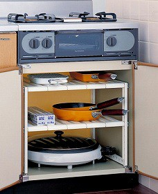 収納棚 コンロ下フリーラック2段( キッチン シンク下 フライパン 整理棚 )