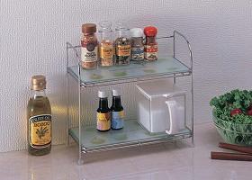 収納棚 強化ガラス製調味料ラック( キッチン )