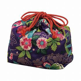 巾着袋 HAKOYA 楽園紫 和風柄