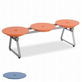 樹脂ベンチ ディスクベンチ 3人掛け 折りたたみ収納タイプ カップホルダーなし ( フォールディング )