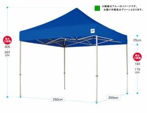 【送料無料】 テント DX25GR デラックスシリーズ グリーン (2.5m×2.5m) スチール  [dx25gr]【メーカー直送:代引き不可】