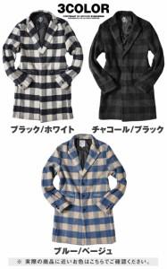 ◆送料無料◆チェスターコート メンズ コート メルトン ウール チェスター ロングコート ブロックチェック trend_d DIVINER