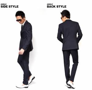 スーツ メンズ セットアップ ネイビー オフィス ビジネス フォーマル キレイ目 紺 結婚式 2次会 スーツピン ピンストライプ trend_d