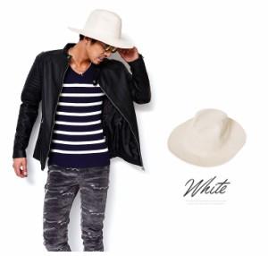 つば広ハット メンズ ハット 帽子 つば広 つば広ハット スウェード風 ハット 中折れ ト ニットハット trend_d フェルト 黒 白