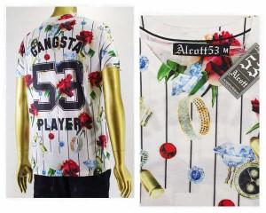 アルコット 総柄 イタリアブランド ポリエステル スポーツ Tシャツ メンズ ALCOTT 【TS9599UN ローズ】