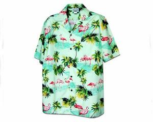 パシフィックレジェド Style410 Made in Hawaii,U.S.A フラミンゴ アロハシャツ メンズ PACIFIC LEGENDD 【410-3416 フラミンコ】