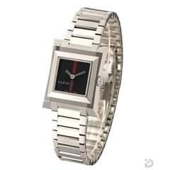 グッチ YA111502 111L 腕時計 ブラックGRG文字盤
