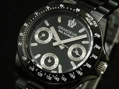 【GRANDEURグランドール】ブラックIPレディース腕時計OSC033W1