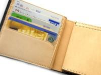 【名入れ無料】ブライドルレザーメッシュ二つ折り財布[誕生日 プレゼント ギフト 記念日 ウォレット 本革 牛革]