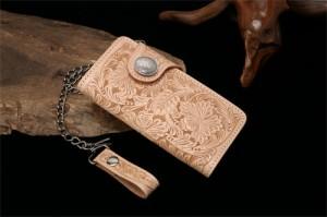 名入れ無料 ハンドカーブ ヌメ革 ロングチェーンウォレット バイカーズウォレット Hand carved[誕生日 プレゼント ギフト 記念日 財布]