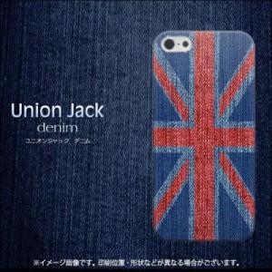 iPhone5 / iPhone5s 共用 (docomo/au/SoftBank) ハードケース / カバー【EK890 ユニオンジャック デニム 素材クリア】 UV印刷  (アイフォ