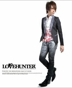 LOVE HUNTER【ラブハンター】ポインテッドトゥ切替レースアップ シューズ /全2色(ブラック/ブラックエナメル) メンズ