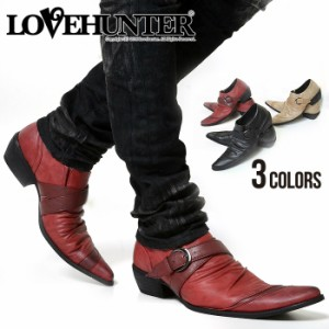 LOVE HUNTER ポインテッドトゥバターナイフドレープ ベルト シューズ /全3色(ブラック/ワイン/キャメル) メンズ